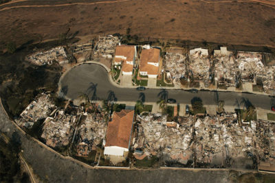 The picture above shows ICF homes in a San Diego Suburb still standing after a wildfire swept through the area.